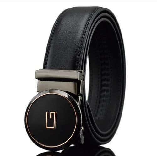 Belt Mens Black Genuine-Leather Cowskin Men's Belts Round Auto Buckle G Design - Zabardo