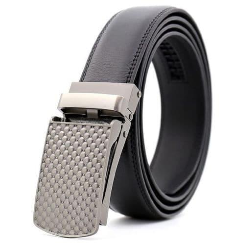 Belt Mens Black Genuine Leather Cowskin Men's Business Belts Auto Buckle Zabardo