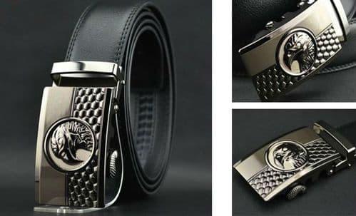 Belt Mens Cowskin Black Genuine Leather Belt Auto Buckle Eagle Embossed  - Zabardo