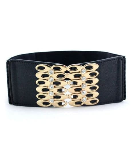 Belt Women's Black  & Gold  Fashion Belts Elastic Stretch Belt Zabardo