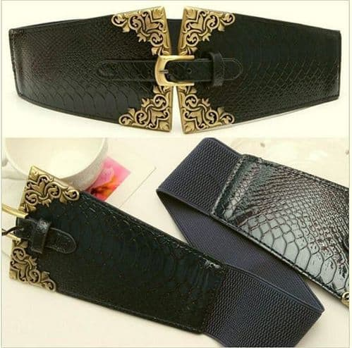 Belt Women's Elastic Belt Black Antique Vintage Embossed Ladies Belt - Zabardo