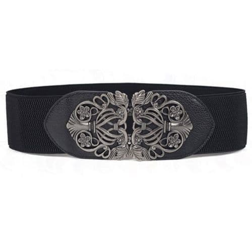Belt Women's Elastic Belt Black Vintage Buckle Cocktail Ladies Stretch - Zabardo