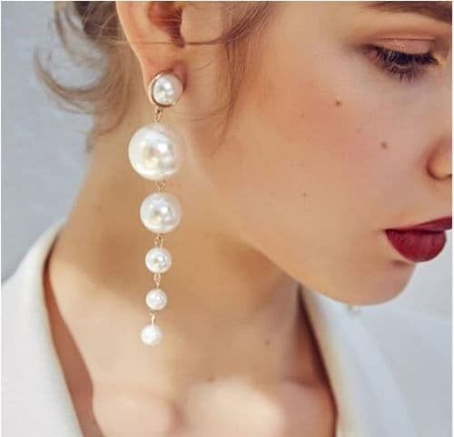 Earrings women's pearl  earrings long drop  fashion jewelry Zabardo
