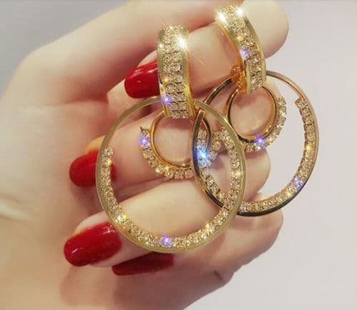 Earrings women's Rhinestone Dual Hoop Earrings Trendy Silver or Gold  Zabardo
