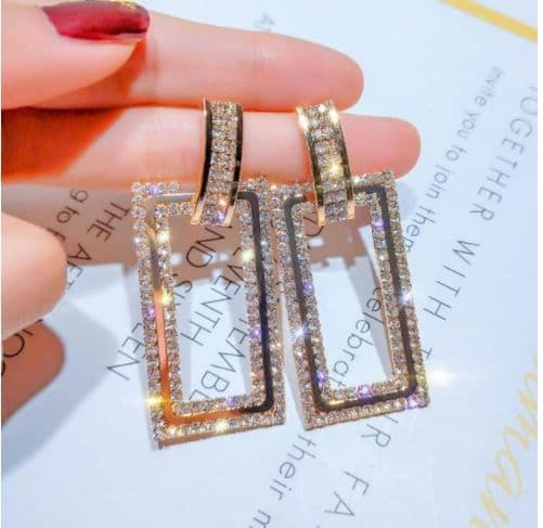 Earrings women's Rhinestone Rectangel Drop  Earrings Trendy Silver or Gold  Zabardo