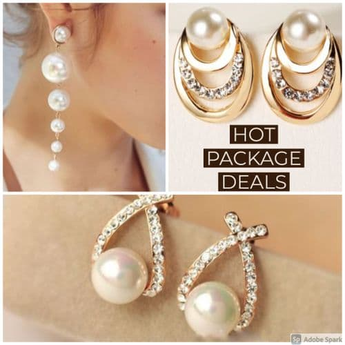 Earrings Womens Pearl & Rhinestone  Earrings - Set of 3  Value Pack - Hot Sales Zabardo