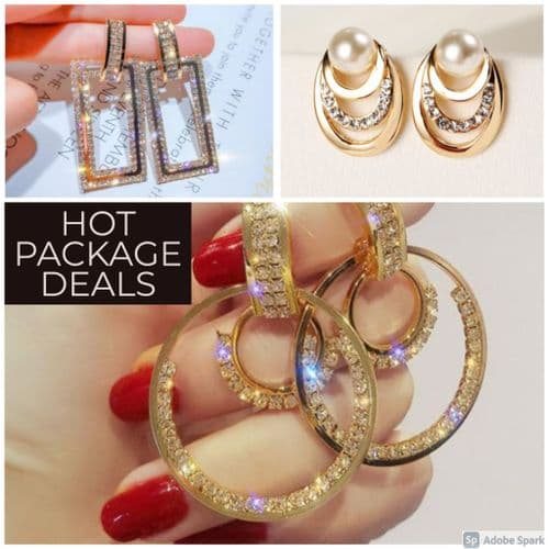 Earrings Womens Rhinestone  Earrings - Set of 3  Value Pack - Hot Sales Zabardo
