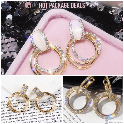 Earrings Womens Stunning Rhinestone Hoops - Set of 3  Value Pack - Hot Sales Zabardo