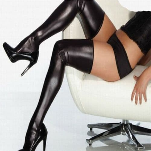 Stockings Halloween Black Faux Leather Look Thigh High Stockings - Zabardo.com