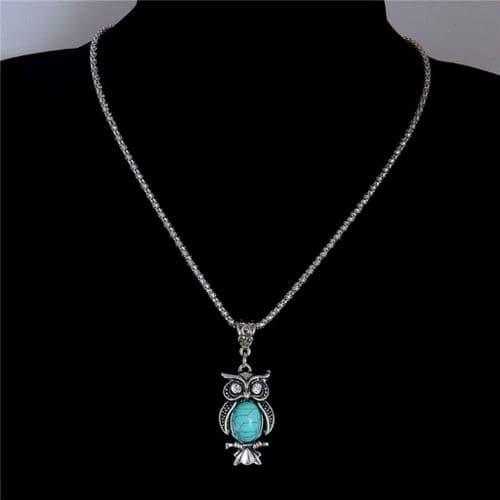 Women's Owl Pendant Vintage Necklace Turquoise Stone Fashion Jewelry Zabardo