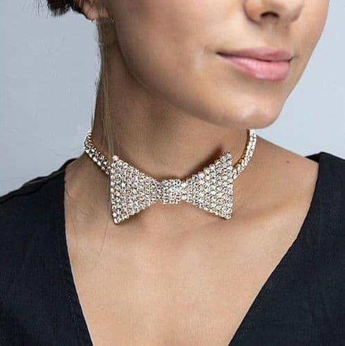Women's Rhinestone Bow Tie Choker Necklace Sexy Fashion Jewelry Zabardo