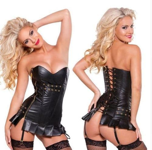 Womens Black Dominatrix Faux Leather Adult Corset  + Garters Role-Play Zabardo