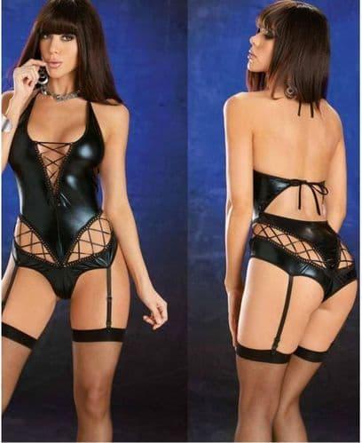 Womens Black Dominatrix Faux Leather Adult Costume Stripper Role-Play Zabardo