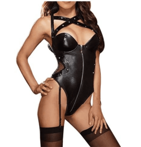Womens Black Dominatrix Faux Leather Bodysuit  inc Garters  Role-Play Zabardo