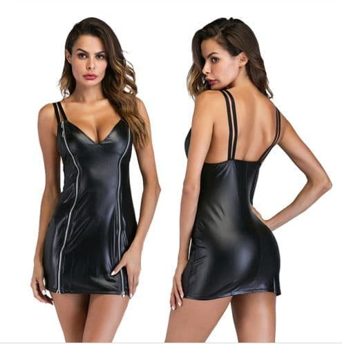 Womens Black Dominatrix Faux Leather Zip Front Adult  Erotic Role-Play Zabardo