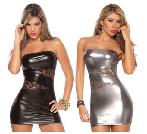 Womens Black Faux Leather Strapless Dress with Mesh Inserts  Bodycon  Fit