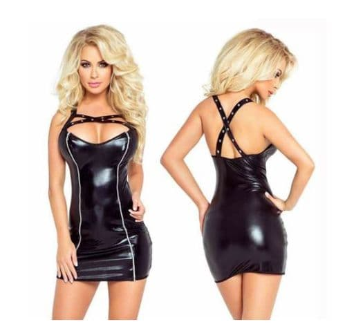Womens Dominatrix Dress Faux Leather Erotic Double Zip-up Front   Zabardo (2)