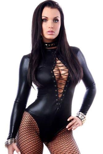 Womens Sexy Bodysuit - Lace Up Front Black Bodycon - Zabardo
