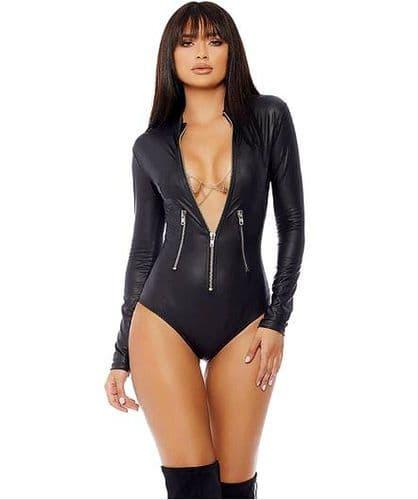 Womens Sexy Bodysuit - Zip-up Front Black Bodycon - Zabardo